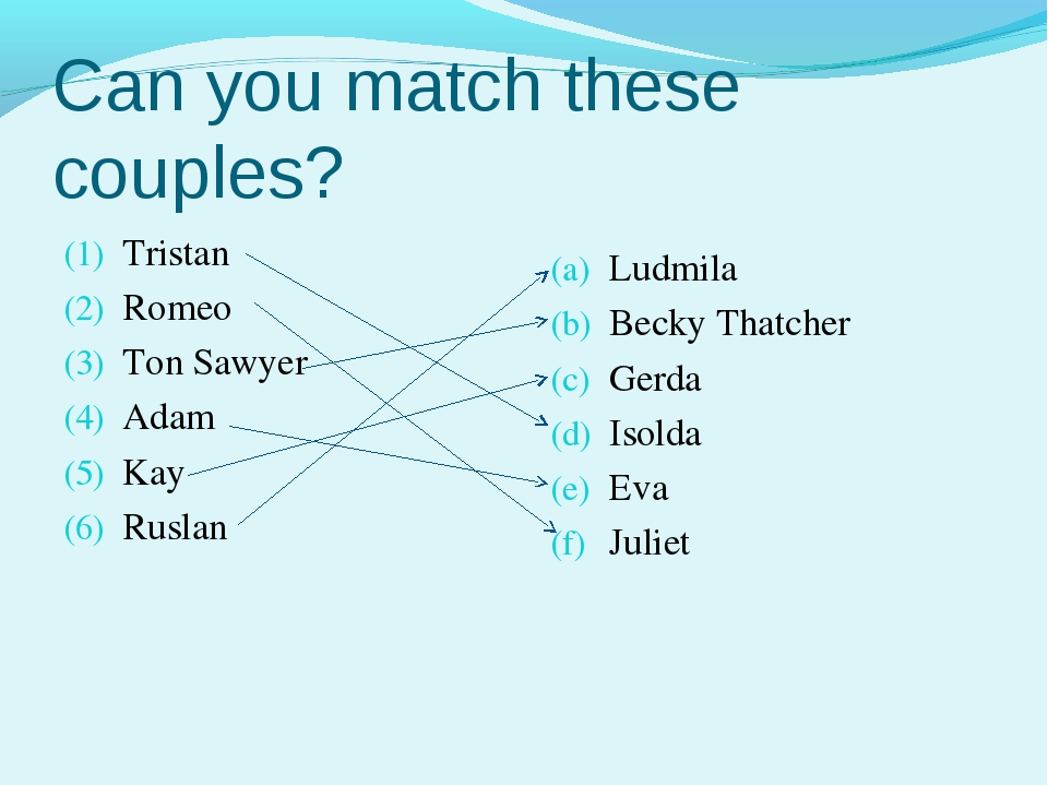 Can you match these couples? Tristan Romeo Ton Sawyer Adam Kay Ruslan Ludmila...