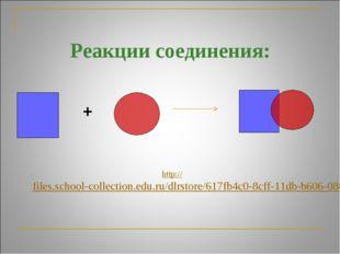 Реакции соединения: + http://files.school-collection.edu.ru/dlrstore/617fb4c