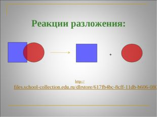 Реакции разложения: + http://files.school-collection.edu.ru/dlrstore/617fb4b