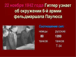 22 ноября 1942 года Гитлер узнает об окружении 6-й армии фельдмаршала Паулюса