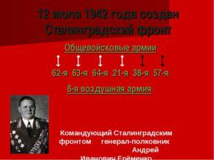 12 июля 1942 года создан Сталинградский фронт Общевойсковые армии 62-я 63-я 6