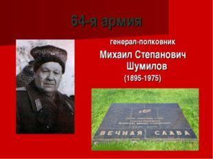 64-я армия генерал-полковник Михаил Степанович Шумилов (1895-1975)