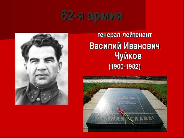 62-я армия генерал-лейтенант Василий Иванович Чуйков (1900-1982)