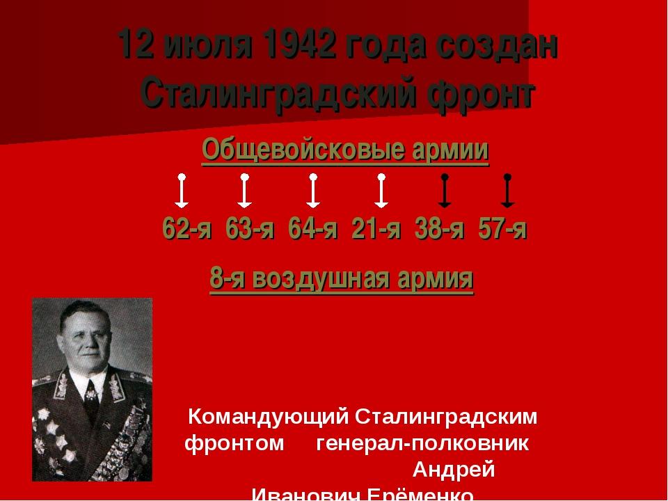 12 июля 1942 года создан Сталинградский фронт Общевойсковые армии 62-я 63-я 6...