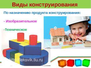 Виды конструирования По назначению продукта конструирования: - Изобразительно