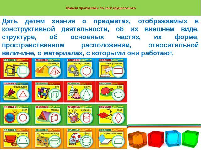 Задачи программы по конструированию Дать детям знания о предметах, отображае...