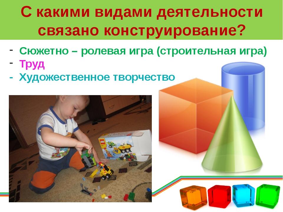 С какими видами деятельности связано конструирование? Сюжетно – ролевая игра...