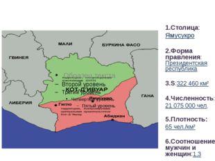 Общие сведения: 1.Столица: Ямусукро 2.Форма правления: Президентская республи