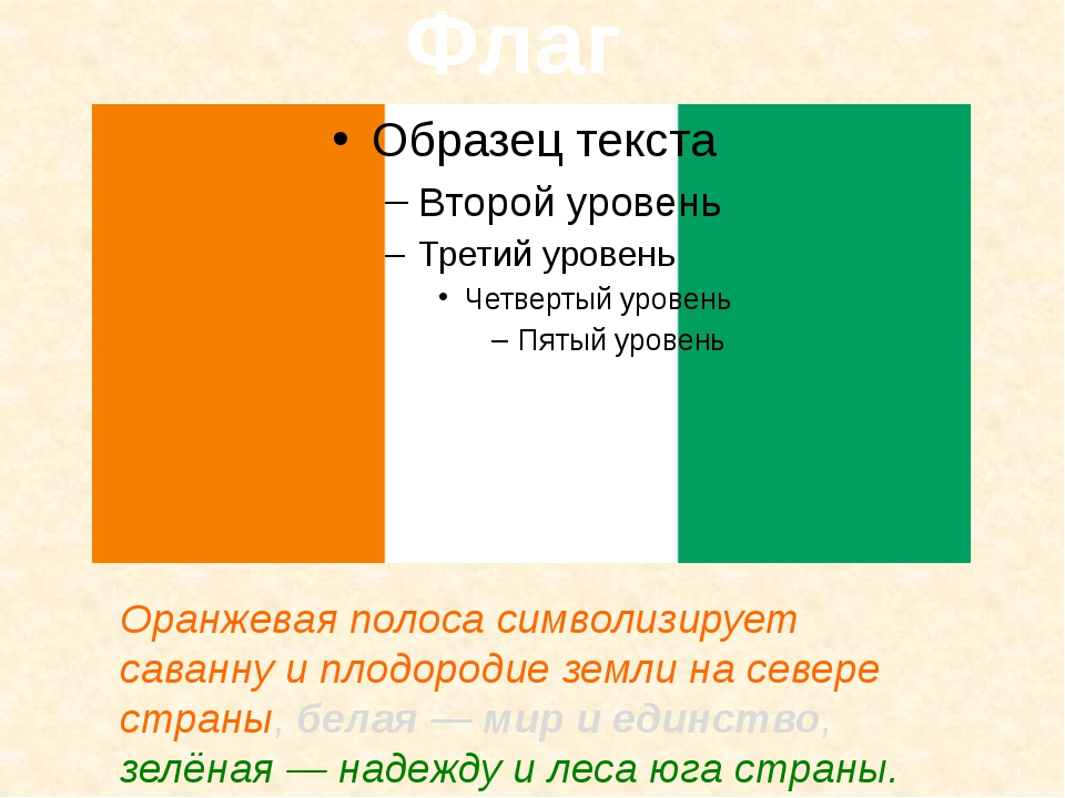Флаг Оранжевая полоса символизирует саванну и плодородие земли на севере стр...