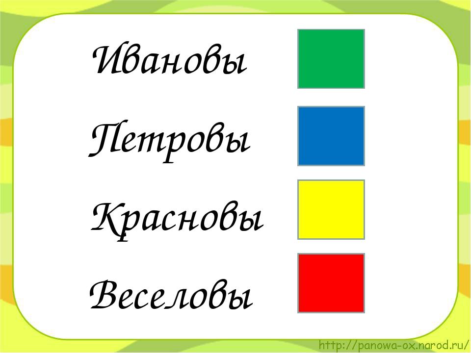 Ивановы Петровы Красновы Веселовы