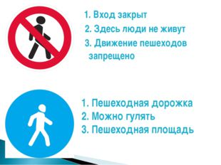 1. Вход закрыт 2. Здесь люди не живут 3. Движение пешеходов запрещено 1. Пеш