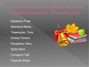Награждены грамотами за активное участие в конкурсе «Ёлочка-краса» Еременко Р