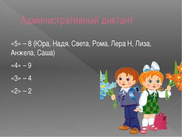 Административный диктант «5» – 8 (Юра, Надя, Света, Рома, Лера Н, Лиза, Анжел...