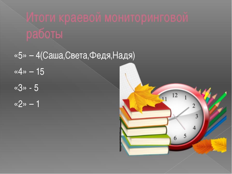 Итоги краевой мониторинговой работы «5» – 4(Саша,Света,Федя,Надя) «4» – 15 «3...