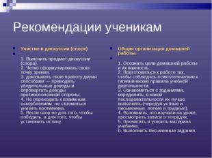 Рекомендации ученикам Участие в дискуссии (споре) 1. Выяснить предмет дискусс