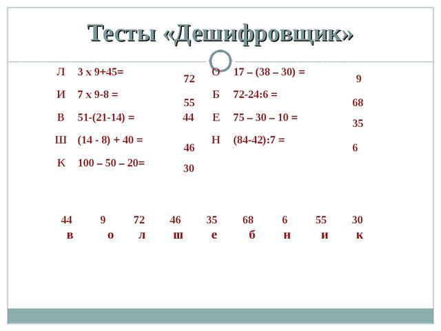 Тесты «Дешифровщик» 72 55 46 30 9 68 35 6 в о л ш е б н и к Л3 х 9+45=О17...