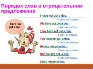 Порядок слов в отрицательном предложении I have not got a dog. У меня нет cоб