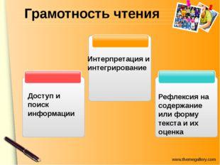 Грамотность чтения Доступ и поиск информации Интерпретация и интегрирование Р