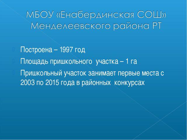Построена – 1997 год Площадь пришкольного участка – 1 га Пришкольный участок...