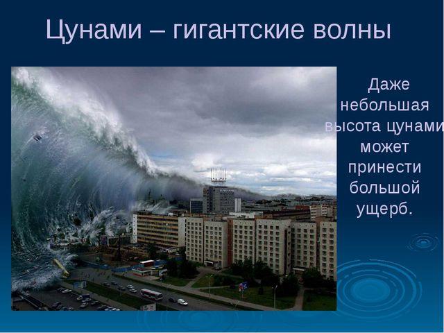 Цунами – гигантские волны Даже небольшая высота цунами может принести большой...