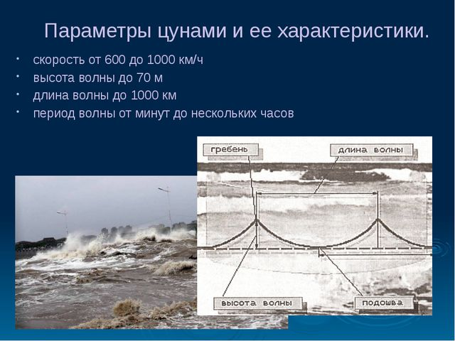 Параметры цунами и ее характеристики. скорость от 600 до 1000 км/ч высота вол...