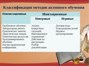 Классификация методов активного обучения Неимитационные Имитационные Неигров