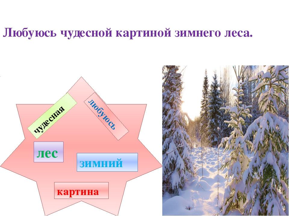 любуюсь чудесная зимний лес картина Любуюсь чудесной картиной зимнего леса.
