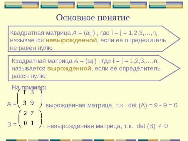 Основное понятие Квадратная матрица А = (аij ) , где i = j = 1,2,3,…,n, назыв...