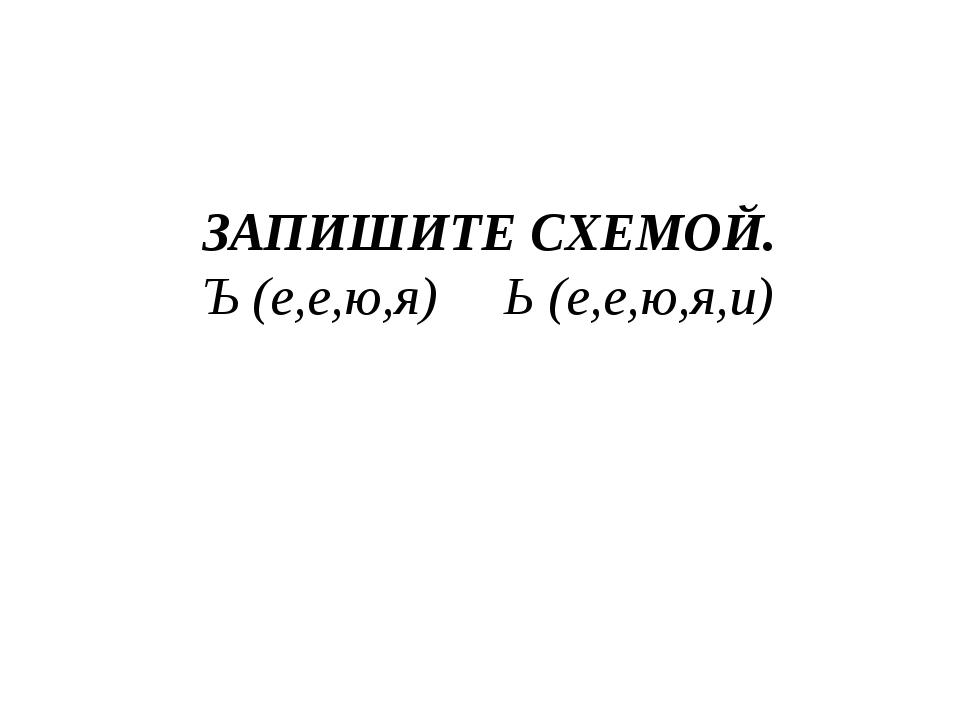 ЗАПИШИТЕ СХЕМОЙ. Ъ (е,е,ю,я) Ь (е,е,ю,я,и)