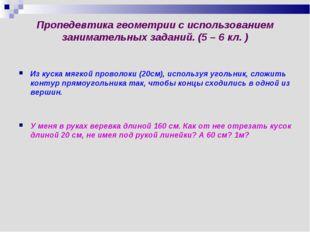 Пропедевтика геометрии с использованием занимательных заданий. (5 – 6 кл. ) И