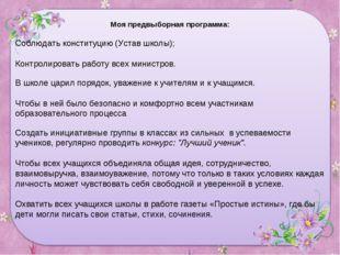Моя предвыборная программа: Соблюдать конституцию (Устав школы); Контролирова