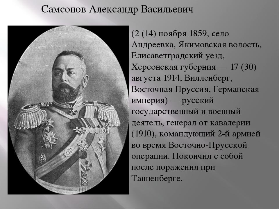Самсонов Александр Васильевич (2 (14) ноября 1859, село Андреевка, Якимовская...
