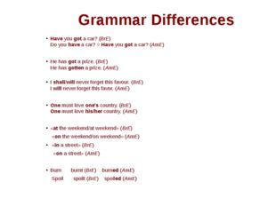 Grammar Differences Have you got a car? (BrE) Do you have a car? = Have you g
