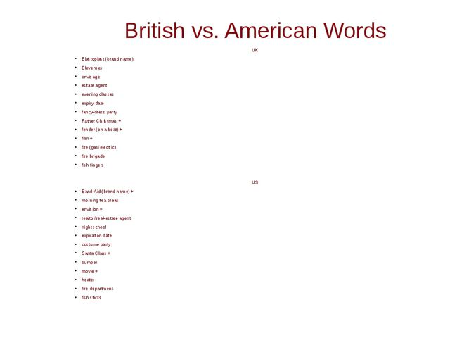 British vs. American Words UK Elastoplast (brand name) Elevenses envisage est...