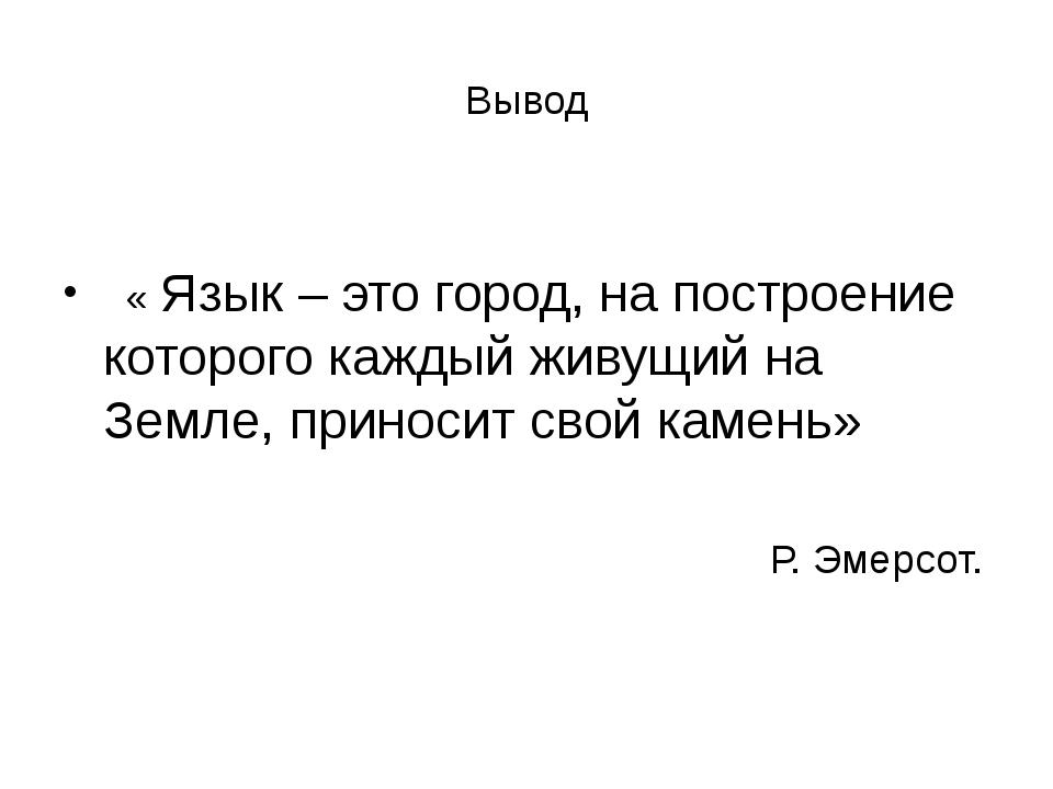 Вывод « Язык – это город, на построение которого каждый живущий на Земле, при...
