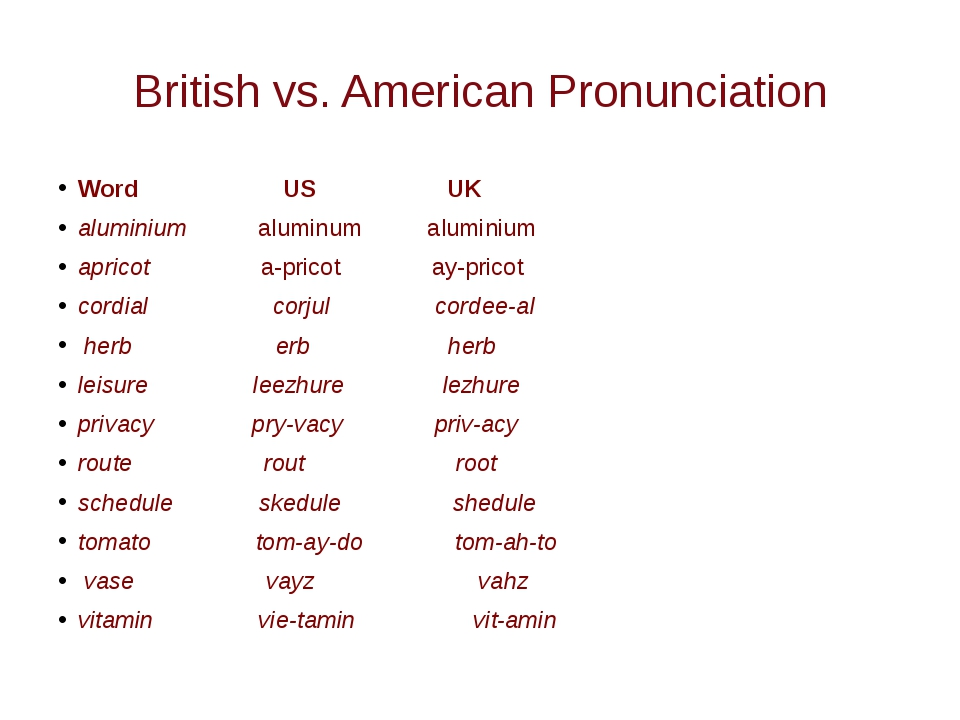 British vs. American Pronunciation Word US UK aluminium aluminum aluminium ap...