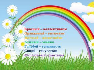 Красный – коллективизм Оранжевый – оптимизм Жёлтый – жизнелюбие Зеленый – зн