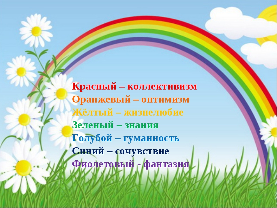 Красный – коллективизм Оранжевый – оптимизм Жёлтый – жизнелюбие Зеленый – зн...