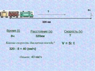 320 км 8ч ? Время (t) Расстояние (s) Скорость (v) 8ч 320км ? Какова скорость
