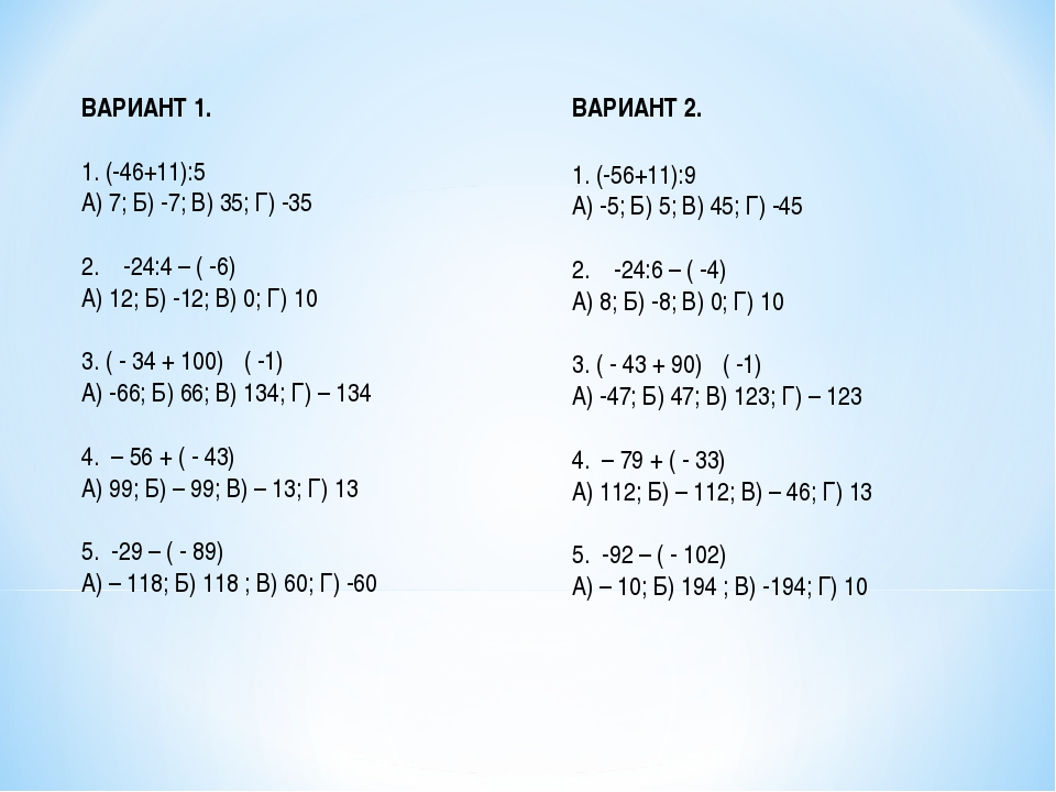ВАРИАНТ 1. 1. (-46+11):5 А) 7; Б) -7; В) 35; Г) -35 2. -24:4 – ( -6) А) 12; Б...