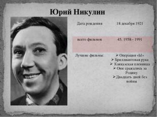 Юрий Никулин Дата рождения 18декабря 1921 всего фильмов 45, 1958 - 1991 Лучши