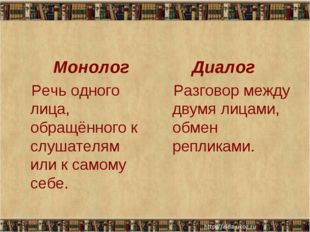 Монолог Речь одного лица, обращённого к слушателям или к самому себе. Диалог
