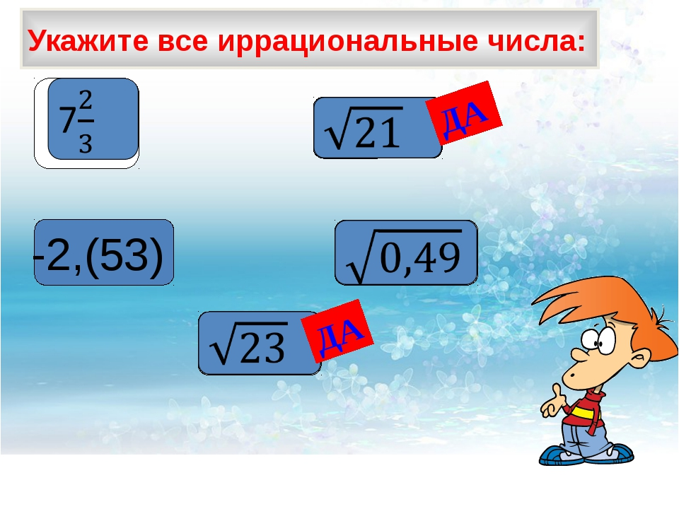 Укажите все иррациональные числа: -2,(53) ДА ДА