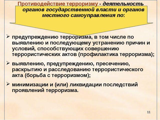 * Противодействие терроризму - деятельность органов государственной власти и...