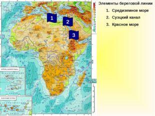 Элементы береговой линии Средиземное море Суэцкий канал Красное море 2 3 1
