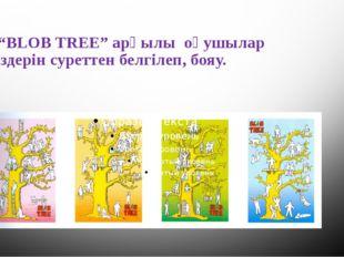 """. """"BLOB TREE"""" арқылы оқушылар өздерін суреттен белгілеп, бояу."""