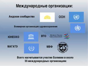 Международные организации: Андское сообщество ООН Всемирная организация здра