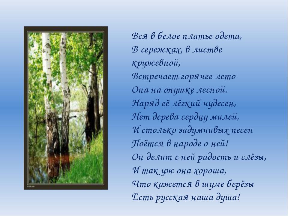 Вся в белое платье одета, В сережках, в листве кружевной, Встречает горячее...