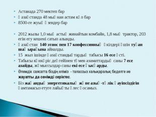Астанада 270 мектеп бар Қазақстанда 48 мыңнан астам көл бар 8500-ге жуық өзен