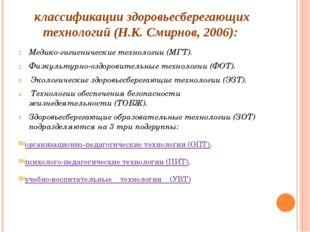 классификации здоровьесберегающих технологий (Н.К. Смирнов, 2006): Медико-гиг